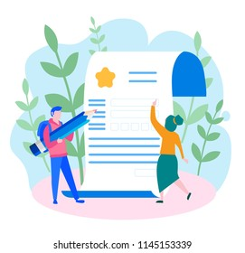 Concept application form for employment. people select a resume for a job for web page, presentation, social media, documents. Vector illustration employee writes a summaryб people fill out a form