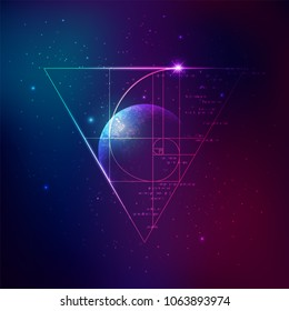 concept of applied astronomy, graphic of golden ratio surrounded by triangle sign with outer space background