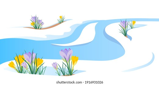 The concept of the arrival of spring and the awakening of nature after winter. Melting snow, streams and snowmelt, primroses, crocuses and spring flowers. Vector illustration. End of the cold season.