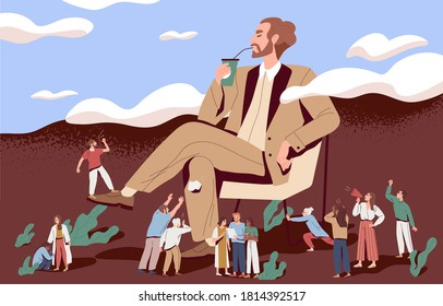 Concept of arrogance or bossy manager who doesnt listen to subordinates opinion. People shout out for haughty boss who sit in chair. Flat vector cartoon illustration of selfish management