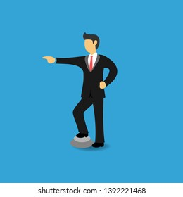 Concept of Arrogant Businessman with Pointing Hand. Arrogant Business People Pointing Something. Flat Vector Illustration