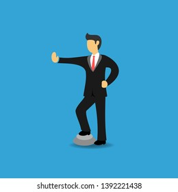 Concept of Arrogant Businessman Stopping Someone. Arrogant Business People with Probihiting Hand Sign. Flat Vector Illustration