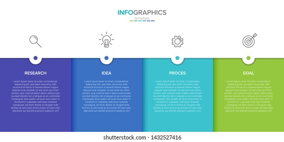 Concept of arrow business model with 4 successive steps. Four colorful rectangular elements. Timeline design for brochure, presentation. Infographic design layout.