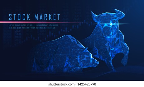 Concept art of Bullish vs Bearish in futuristic idea suitable for Stock Marketing or Financial Investment