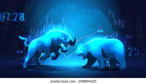 Concept art of Bullish vs Bearish in futuristic idea suitable for Stock Marketing or Financial Investment
