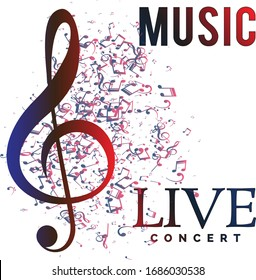 Concept art of live concert banner with music notes