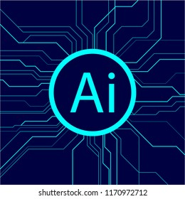 Concept Artificial intelligence or Ai centralized computing