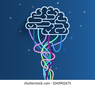 Concept of artificial intelligence. The brain is connected to the network. Concept of artificial intelligence. Flat design, vector illustration