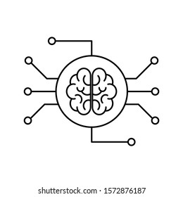 Concept of Artificial Intelligence and Machine Learning. Outline thin line flat illustration. Isolated on white background.