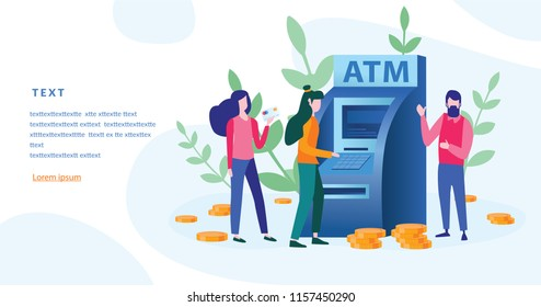 Concept ATM for web page, banner, presentation, social media. Vector illustration, money, management of investment in cards, customer standing near ATM machine and holding credit card.