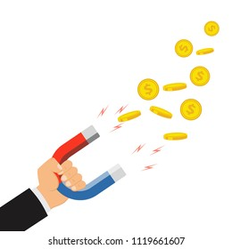 The concept of attracting desires. Human hand holding a magnet. Attracting money, investment, magnet attracting finance. Vector illustration.