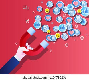 Concept of attracting followers, customers and clients to business. Hand holding magnet on blue background. Vector illustration in flat style.