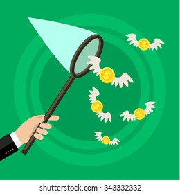 Concept of attracting investments. Hand holding butterfly net and catching money. Flat design, vector illustration