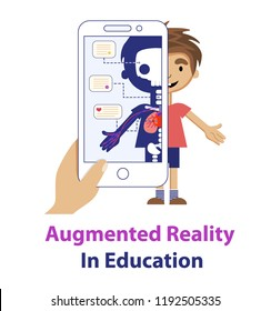 Concept of the augmented reality educational app for children with human anatomy. Hand holding the phone with look like x-ray image of human body and text notes.