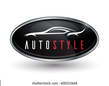 Concept auto vehicle dealership logo design of black and silver chrome badge icon isolated on white background with a white abstract sports car silhouette. Vector illustration.