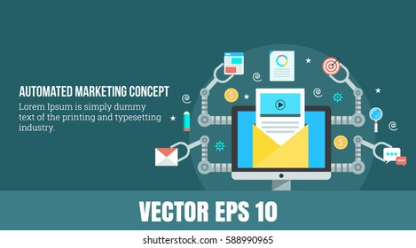 A concept for automated marketing, digital marketing automation flat vector illustration with email, search and chat icons