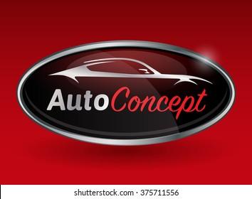 Konzeption des Automobil-Logo-Designs mit Chrom-Abzeichen von Sportfahrzeug-Silhouette auf rotem Hintergrund.  Vektorgrafik.