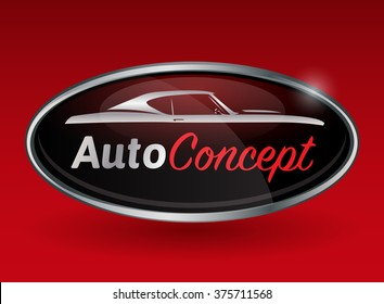 Concept automotive logo design with chrome badge of sports muscle car silhouette on red background. Vector illustration.