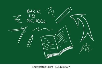 Concept of back to school drawing board skeches elements.