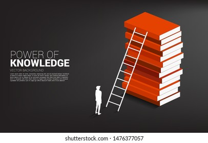 Concept background for power of knowledge. Silhouette of businessman ready to move to top of book stack with ladder.