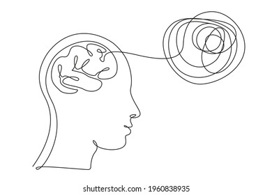 Concept of bad mental health. Human head with brain and thoughts in one line art style. Continuous drawing illustration. Abstract linear Vector for banner, brochure, poster, presentation