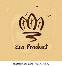 Concept badge, logo,  with text eco food product for corporate identity vegetable and fruit shop, market. Silhouette three tree forest with road on wood texture.