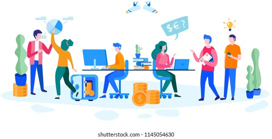 Concept Bank interior counter desk, Cash desk secretary accountant Person vault  for web page, banner, presentation, social media, . Vector illustration Bank Office Reception Service meeting Client
