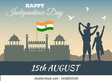 Concept banner of 15th August India Happy Independence Day. Vector silhouette of the Red Fort (Lal Kila) in Delhi and the Indian flag above it with rejoicing people. Three doves over a happy family.