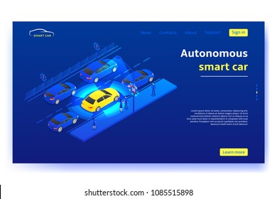 Concept banner with autonomous smart car. Smart car moves on road and scans signs and objects in the city. Vector illustration.