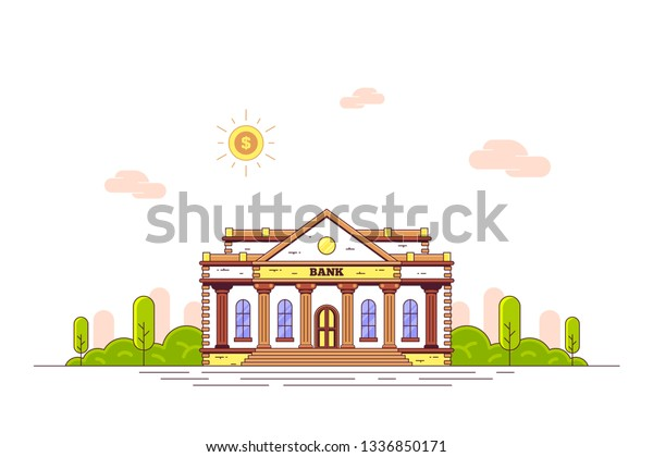 Design On Stock Bank.Concept Banner Design Bank Building On Stock Vector Royalty