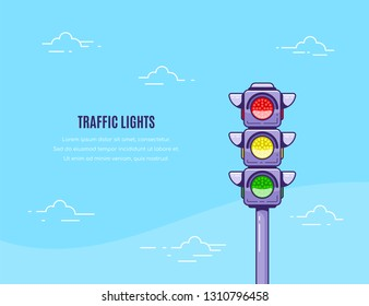 Concept banner design with traffic lights icon and text template. Flat style line art illustration.