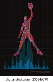 Concept of a basketball player and digital equalizer. Vector illustration