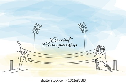 Concept of Batsman playing cricket with Bowler bowling - championship, Line art design Vector illustration.