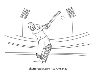 Concept of Batsman playing cricket - championship, Line art design Vector illustration.