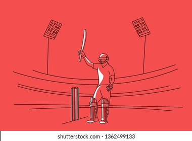 Concept of Batsman playing cricket raises his bat after scoring a full century - championship, Line art design Vector illustration.