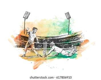 Concept of Batsman playing in Cricket stadium cricket championship, Hand Drawn Sketch Vector illustration.
