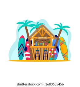Concept of beach bar with surfboards. People enjoying vacation on the sea, ocean . summer sports and leisure outdoor activities. Flat vector illustration isolated on white background