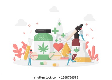 concept of benefit of CBD or Cannabidiol, Cannabis, hemp with oil, tablets, drugs and tiny doctor, vector flat illustration for web, landing page, ui, banner, editorial, mobile app and flyer.
