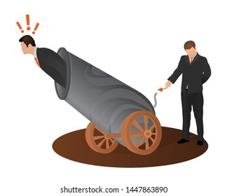 Concept of betrayal of business partner. Afraid man preparing to fly shot from weapon cannon gun. Crime betrayal accident business career competition concept.