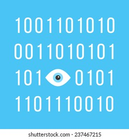 concept of big brother is watching you with binary code. see hacking, unauthorized access, influence on the consciousness of society. isolated on blue background. trendy modern vector illustration