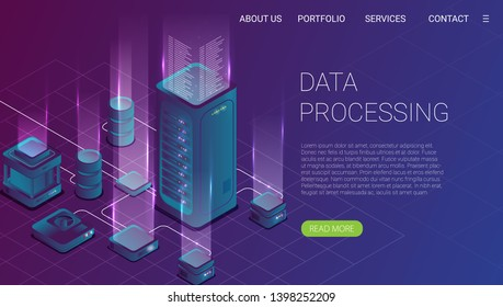 Concept of big data processing, energy station of future, server room rack, data center isometric vector illustration