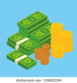 Concept of big money. Big pile of cash.