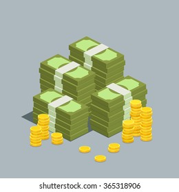Concept of big money. Big pile of cash. Hundreds of dollars. Vector isometric illustration.