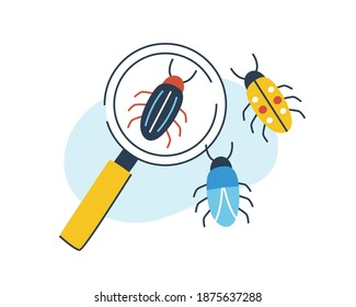 Concept of biology, entomology and coleopterology. Composition of insects and magnifying glass. Magnifier and species of bugs or beetles. Flat vector cartoon illustration isolated on white background
