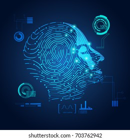 concept of biometric, digital Face Scanning, human head combined with electronic board and fingerprint