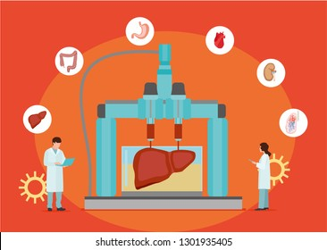 Concept of bioprinting of tissues and organs on red background. Colorful vector illustration in flat style.