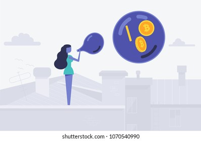 Concept of bitcoin bubble balloon with etherium symbol as vector illustration flat style