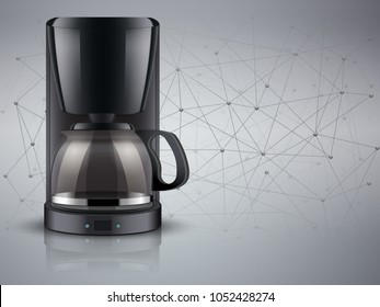 Concept of Blockchain and kitchen appliances in food industry. Coffee maker and Internet of Things on abstract background. Editable Vector illustration.