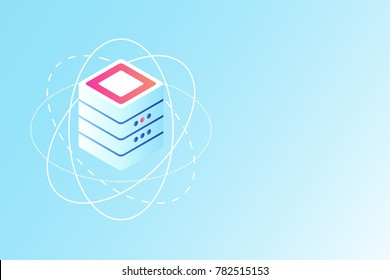 Concept of blockchain server database, hi-technology element, information processing gradient isometric vector