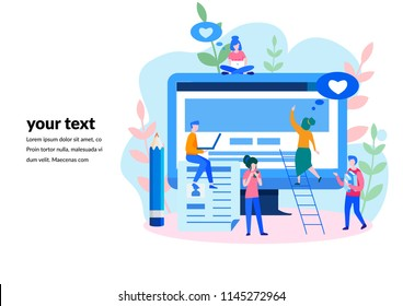 Concept Blog content, Blogging, post, content strategy, social media, chatting, for web page, social media, documents, cards, posters. Vector illustration Seo infographic, Management Business